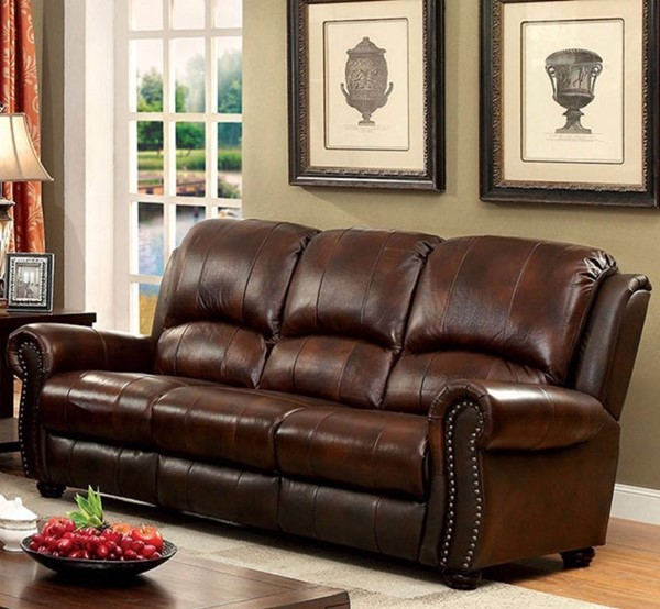 HomeRoots Transitional Brown Leather Sofa OCN-314908