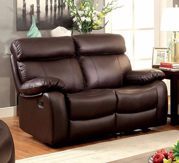 HomeRoots Modern Brown Leather Cushions Recliner Loveseat OCN-314914