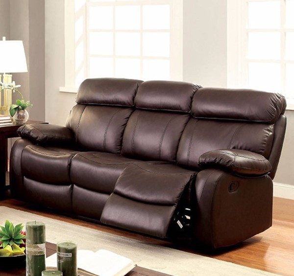 HomeRoots Modern Brown Leather Cushions Recliner Sofa OCN-314915