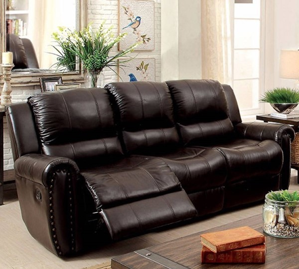 HomeRoots Brown Leatherette Recliner Nailhead Sofa OCN-314917