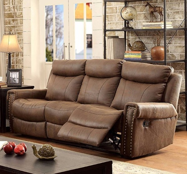 HomeRoots Transitional Brown Leatherette Recliner Sofa OCN-314919