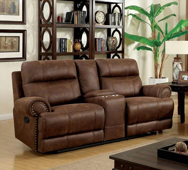 HomeRoots Brown Leatherette Console and 2 Recliners Loveseat OCN-314925
