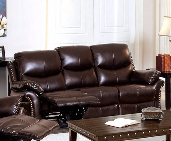 HomeRoots Transitional Brown Bonded Leather 2 Recliners Sofa OCN-314931