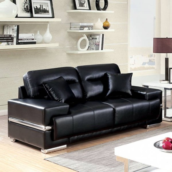 HomeRoots Black Leatherette Loveseat with Pillows OCN-314948