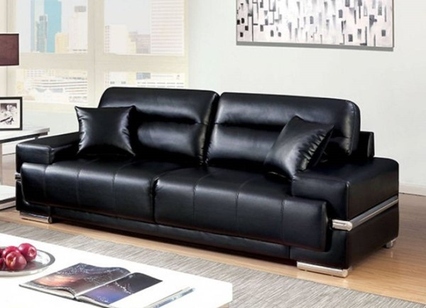 HomeRoots Black Leatherette Sofas with Pillows OCN-31494-SF-VAR
