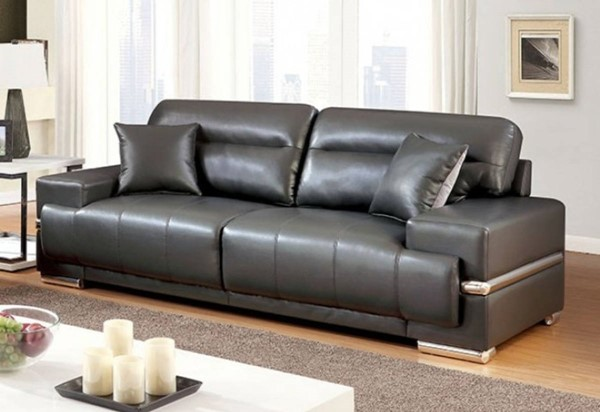 HomeRoots Gray Leatherette Sofa with Pillows OCN-314952