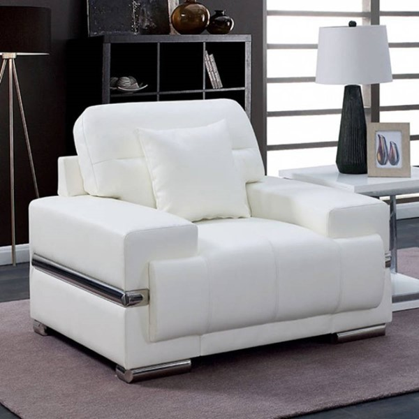 HomeRoots White Leatherette Snug Chair with Pillow OCN-314953
