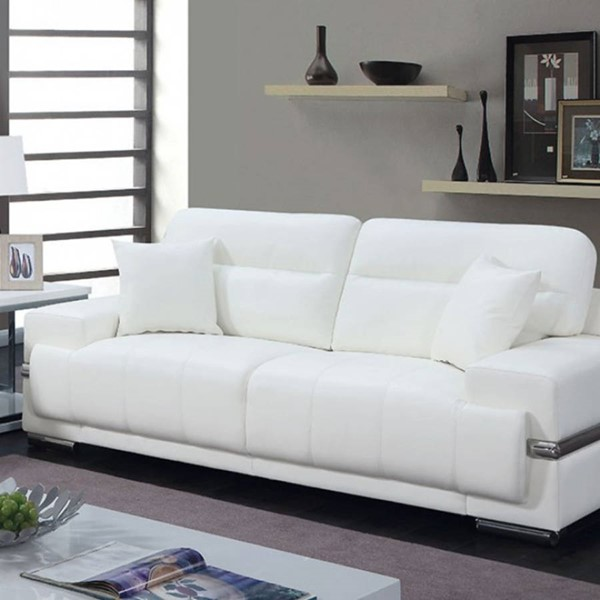 HomeRoots White Leatherette Sofa with Pillows OCN-314955