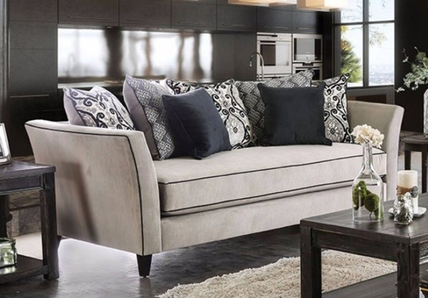 Homeroots Gray Black Polyester Sofa with 7 Comfy Pillows OCN-314976