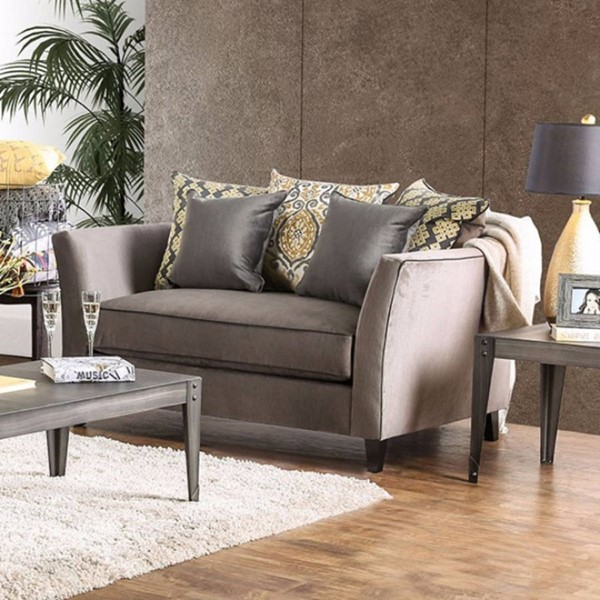 HomeRoots Gray Fabric Premium Loveseat OCN-314981