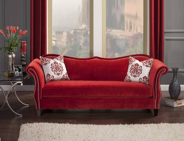 HomeRoots Red Velvet Fabric Premium Sofa with 2 Pillows OCN-314986
