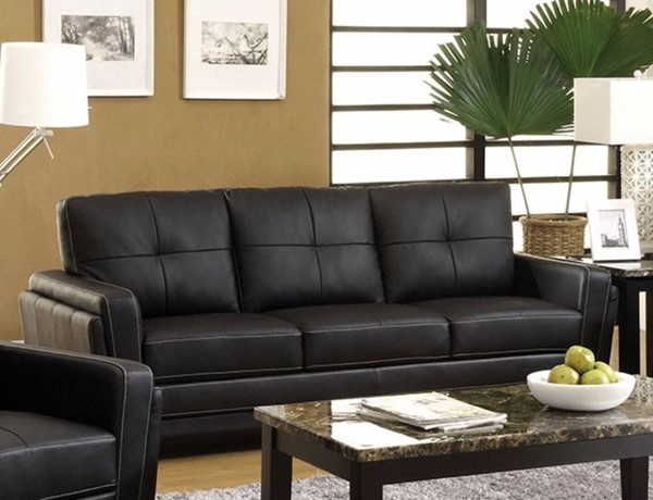HomeRoots Black Leatherette Three Seater Comfy Sofa OCN-314998