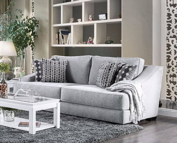 HomeRoots Gray Chenille Fabric Sofa with 4 Pillows OCN-315010