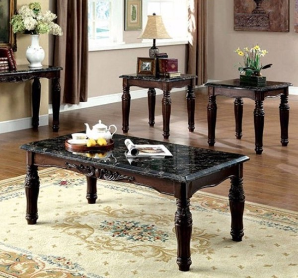 Homeroots Espresso Brown Faux Marble Top 3pc Coffee Table Set OCN-315030