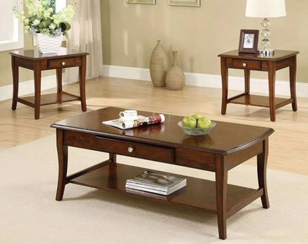 Homeroots Brown Wood Drawer 3pc Coffee Table Set OCN-315036