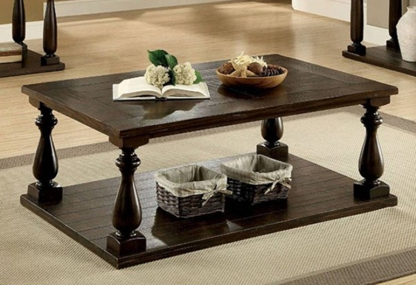Homeroots Dark Walnut Brown Coffee Table with Open Bottom Shelf OCN-315038