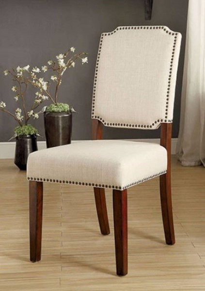 2 Homeroots Ivory Fabric Cherry Brown Wood Side Chairs OCN-315052