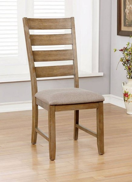 2 Homeroots Natural Brown Wood Slatted Back Side Chairs OCN-315053