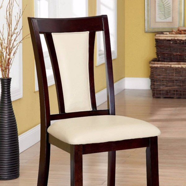 2 Homeroots Cherry Brown Wood Ivory Fabric Padded Side Chairs OCN-315058