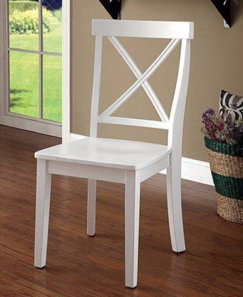 2 Homeroots White Wood Armless Side Chairs OCN-315061