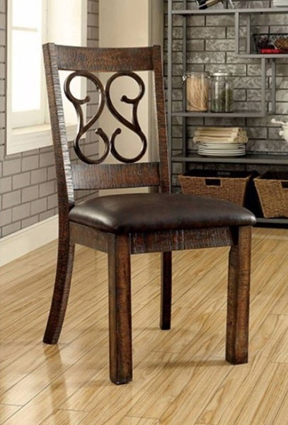 2 Homeroots Rustic Walnut Brown Wood Leather Seat Armless Side Chairs OCN-315067