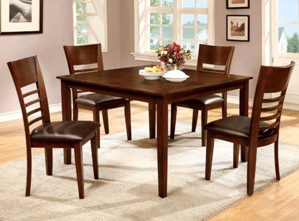 Homeroots Brown Cherry Wood 5pc Dining Set OCN-315083