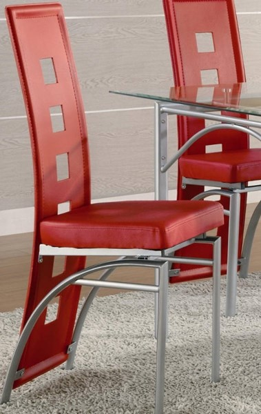 2 Homeroots Red Leather Silver Metal High Back Dining Chairs OCN-315103