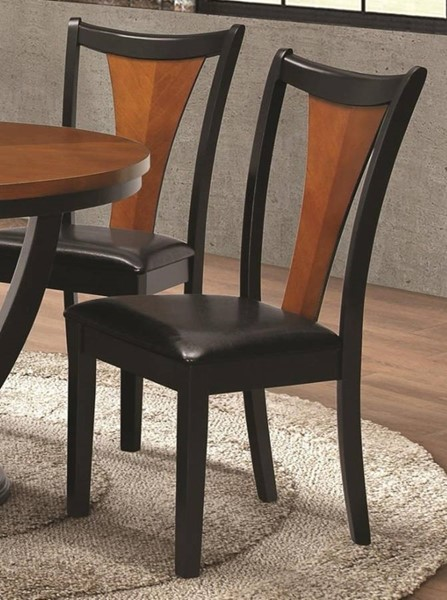 2 Homeroots Amber Brown Black Wood Two Tone Dining Side Chairs OCN-315113
