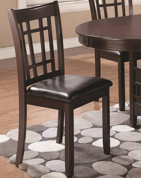 2 Homeroots Brown Wood Black Leather Armless Dining Side Chairs OCN-315117