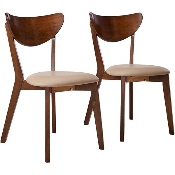2 Homeroots Chestnut Brown Wood Fabric Dining Side Chairs OCN-315125