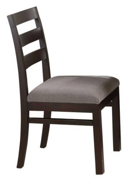 2 Homeroots Gray Leather Cappuccino Brown Wood Ladder Back Dining Side Chairs OCN-315129