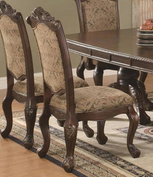 2 Homeroots Cherry Brown Wood Fabric Dining Side Chairs OCN-315131