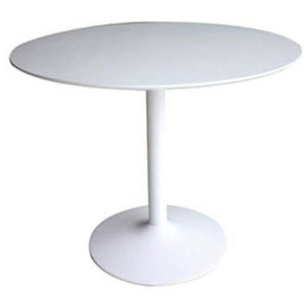 Homeroots White MDF Metal Round Dining Table OCN-315149