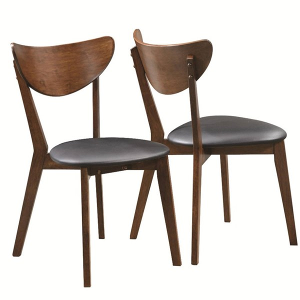 2 Homeroots Black Fabric Brown Wood Dining Side Chairs with Curved Back OCN-315155