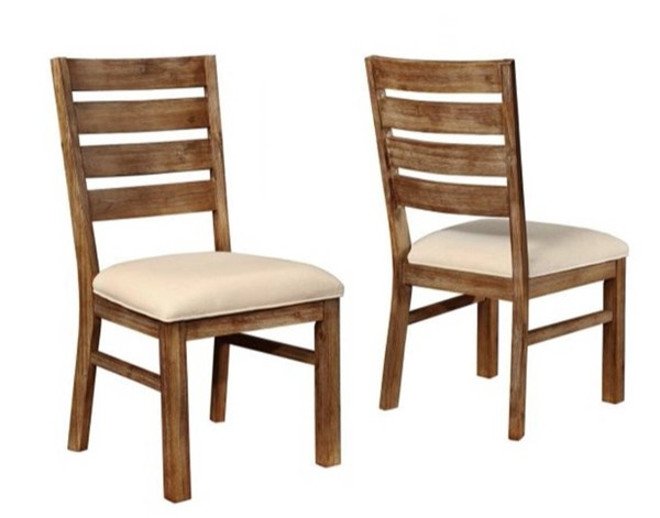 2 Homeroots Cream Fabric nutmeg Brown Wood Dining Side Chairs with Ladder Back OCN-315166