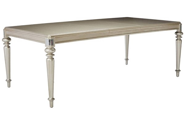 Homeroots Metallic Silver Wood Rectangle Dining Table OCN-315176