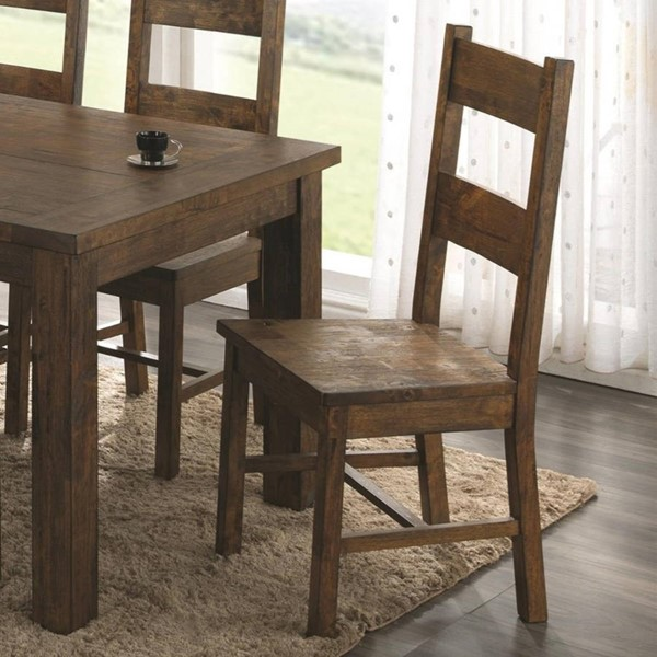 2 Homeroots Golden Brown Wood Armless Dining Side Chairs OCN-315188