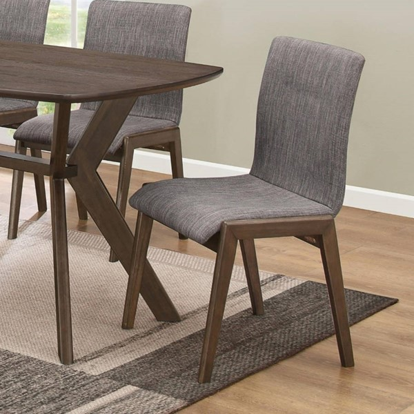 2 Homeroots Sylvan Gray Fabric Warm Brown Wood Dining Side Chairs OCN-315190