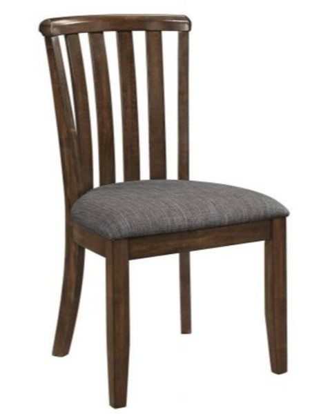 2 Homeroots Gray Fabric Brown Wood Dining Side Chairs with Slatted Back OCN-315199