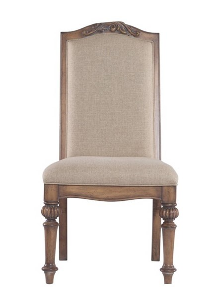 2 Homeroots Cream Fabric Brown Wood Dining Side Chairs with Turned Legs OCN-315223