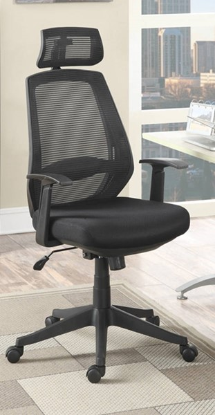 Homeroots Black Leatherette Highly Office Chair OCN-315267