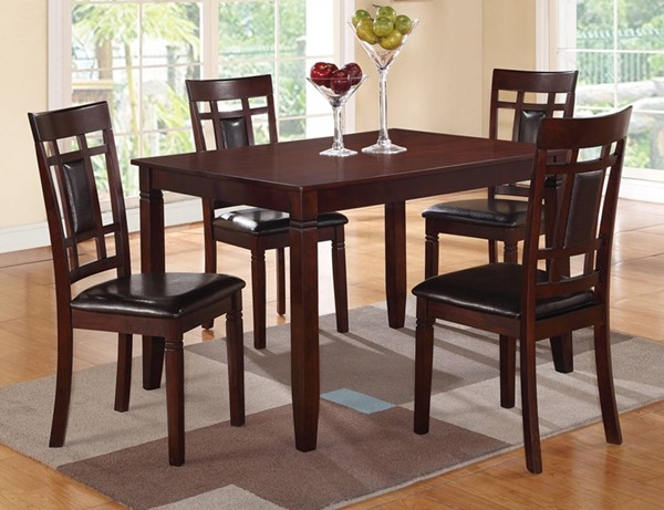 Homeroots Brown Wood Black Leather 5pc Dining Set OCN-315279