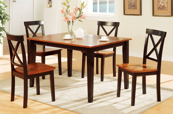 Homeroots Brown 2 Tone Rubberwood 5pc Dining Set OCN-315281