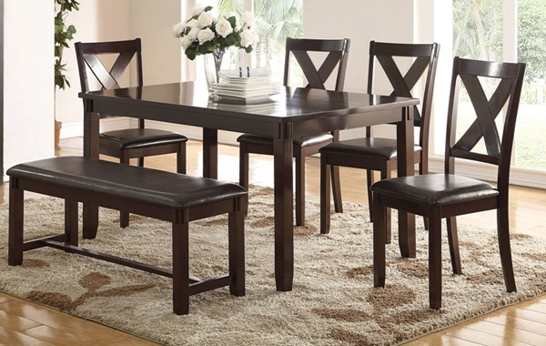 Homeroots Espresso Brown Rubberwood 6pc Dining Set OCN-315285