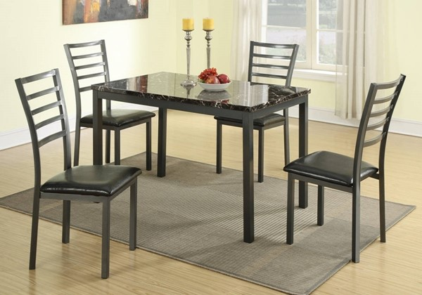 Homeroots Black Faux Leather Gray Metal 5pc Dining Set OCN-315289