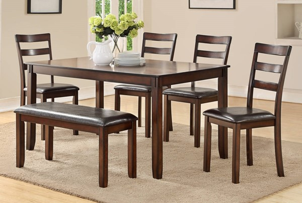 Homeroots Espresso Brown Rubberwood Rectangle 6pc Dining Set OCN-315294