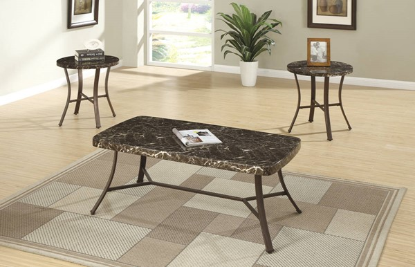 Homeroots Brown Faux Marble Top Metallic 3pc Coffee Table Set OCN-315299