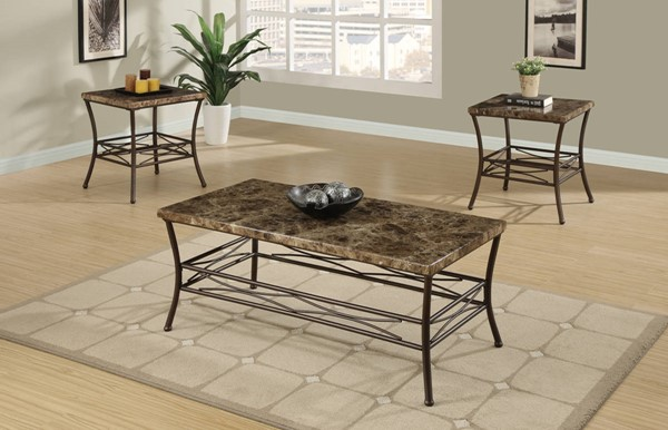 Homeroots Brown Faux Marble Metal 3pc Coffee Table Set OCN-315303