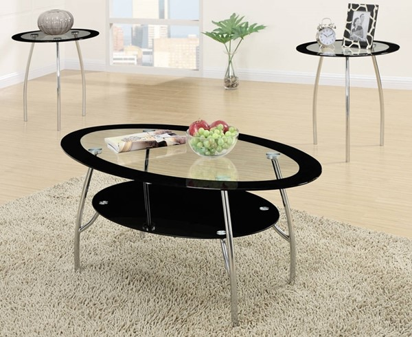 Homeroots Black Glass Top Oval 3pc Coffee Table Set OCN-315305