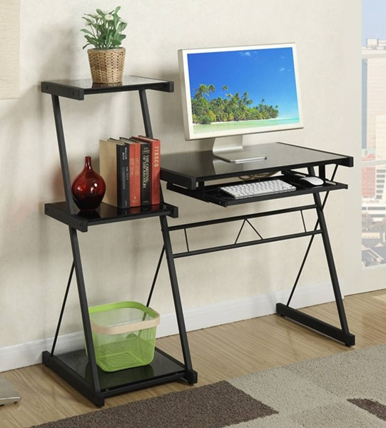 Homeroots Black Glass Top Desk with Side Shelves OCN-315312